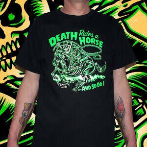 Hepkatz Death Rides A Horse Mens Black T Shirt Featured
