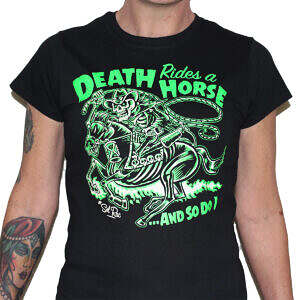 Hepkatz Death Rides A Horse Womens Black T Shirt Featured