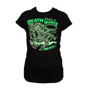 Hepkatz Death Rides A Horse Womens Black T Shirt Stock Image