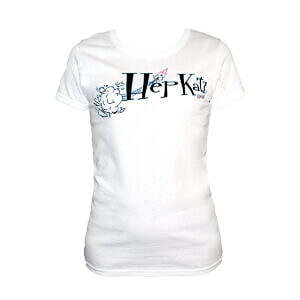 Hepkatz Iconic Womens White T Shirt Stock Image